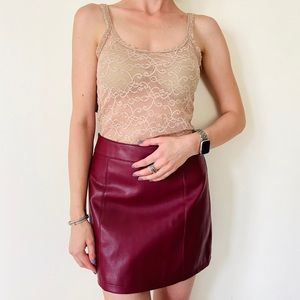 Forever 21 faux Leather maroon mini skirt